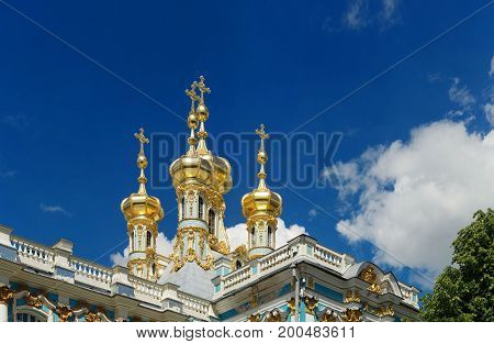 Petersburg Russia - June 29 2017: Tsarskoe Selo Golden domes of the church