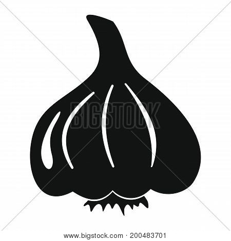 Garlic vector illustration black simple silhouette for design and web isolated on white background. Garlic vector object for labels  and advertising