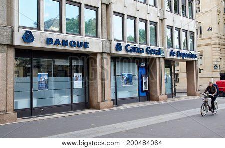 PARIS FRANCE - MAY 10 2017 : The Banco Caixa Geral bank. The Banco Caixa Geral is the Bank of CGD Group in Spain.