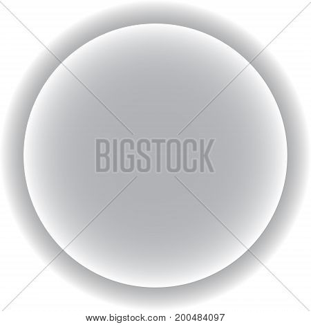 Circle with a gray shadow. Three-dimensional button. vector illustration