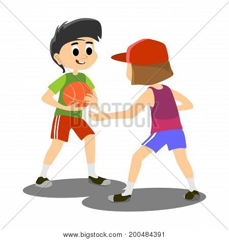 happy kids school activity, child sport team, boy have fun and play with ball on basketball field on stadium, isolated active game background vector illustration.