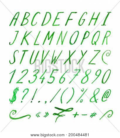 Hand drawn green watercolor font with punctuation marks on white background. Font contains question mark, exclamation point, period, comma, dash, hyphen, bracket, parenthesis. Vector illustration.