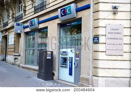 PARIS FRANCE - MAY 10 2017 : CIC office in Paris. Credit Industriel et Commercial - CIC is a financial services group in France founded in 1859