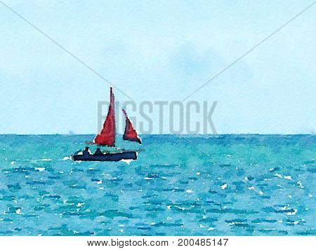 A digital watercolor painting of a sailing boat at sea with its red sails up with space for text.