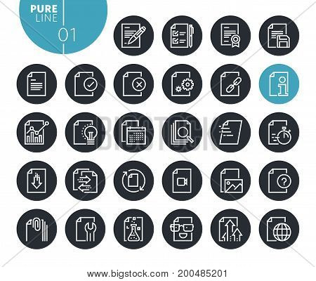 Modern file editing and formatting  line icons set. Vector illustrations for web and app design and development. Premium quality outline web symbols.