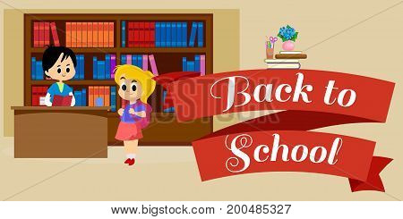 elementary education, students in library with bookshelf, back to school lifestyle concept, literature lessons in school, information research vector illustration, child reading book in bookstore.