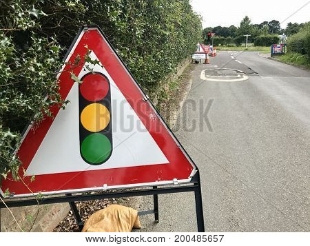 County road traffic light road works