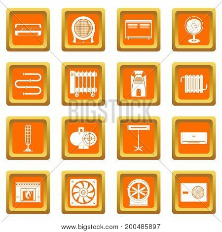 Heating cooling air icons set in orange color isolated vector illustration for web and any design