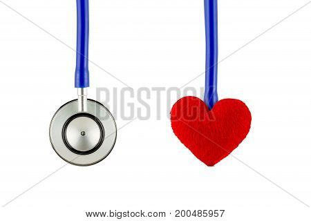 Medical Stethoscope And Heart Isolated On White Background