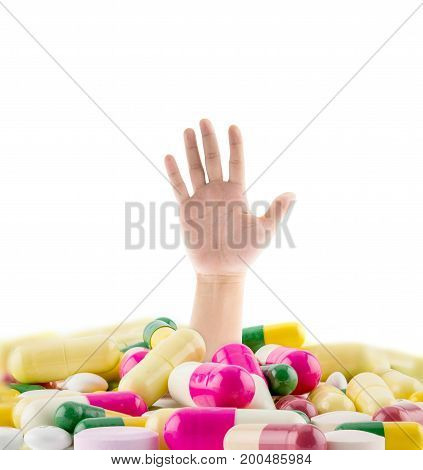 A Huge Pile Of Various Pills With A Man's Hand Coming Out Representing Drug Abuse, Addiction, Chroni
