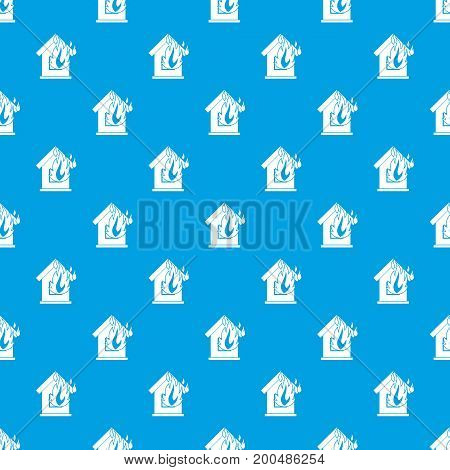 Preventing fire pattern repeat seamless in blue color for any design. Vector geometric illustration
