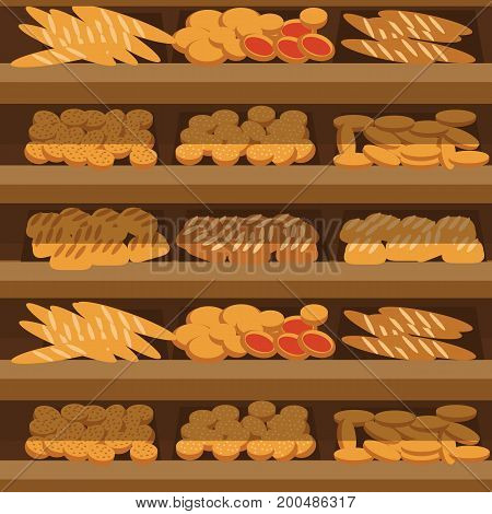 bakery shelf with bread in supermarket, big choice of fresh products sale in food shop interior, store vector illustration.