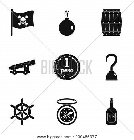 Pirates icon set. Simple set of 9 pirates vector icons for web isolated on white background