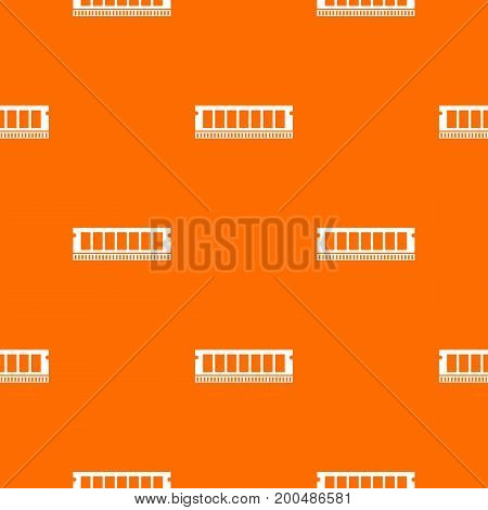 DVD RAM module for the personal computer pattern repeat seamless in orange color for any design. Vector geometric illustration