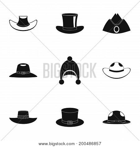 Hat icon set. Simple set of 9 hat vector icons for web isolated on white background