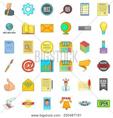 Digital job icons set. Cartoon style of 36 digital job vector icons for web isolated on white background