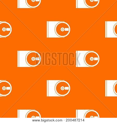 DVD drive open pattern repeat seamless in orange color for any design. Vector geometric illustration
