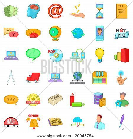 Digital contract icons set. Cartoon style of 36 digital contract vector icons for web isolated on white background