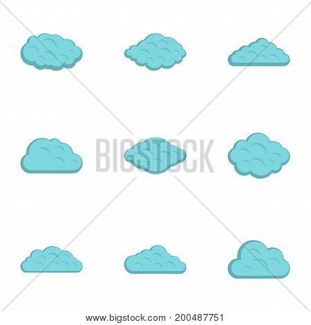 Cloud icon set. Flat set of 9 cloud vector icons for web isolated on white background