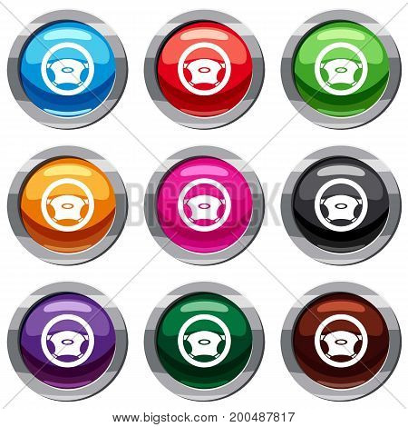 Steering, wheel set icon isolated on white. 9 icon collection vector illustration