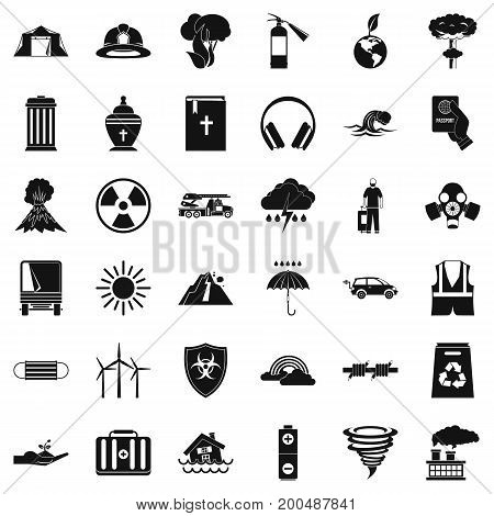 Modern disaster icons set. Simple style of 36 modern disaster vector icons for web isolated on white background