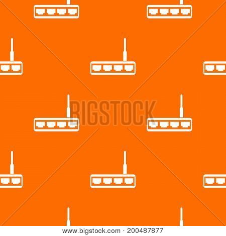 Router pattern repeat seamless in orange color for any design. Vector geometric illustration