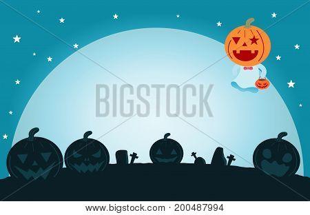 Halloween pumpkin on the moon , vector illustration of Halloween pumpkin  ,Halloween  Poster Party