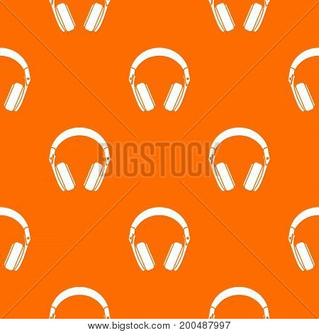 Headphones pattern repeat seamless in orange color for any design. Vector geometric illustration