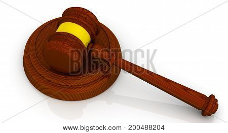 Gavel of the judge. Wooden judge gavel on white surface. Isolated. 3D Illustration
