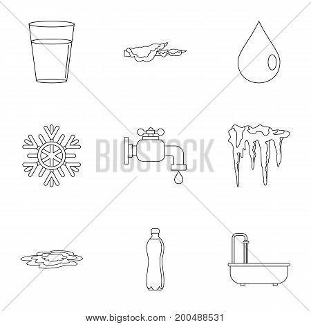 Water icon set. Outline set of 9 water vector icons for web isolated on white background