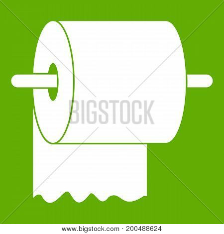 Roll of toilet paper on holder icon white isolated on green background. Vector illustration