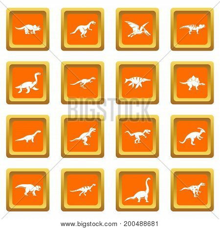 Dinosaur icons set in orange color isolated vector illustration for web and any design