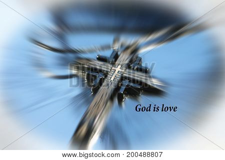 Religious Cross Zoom Burst With