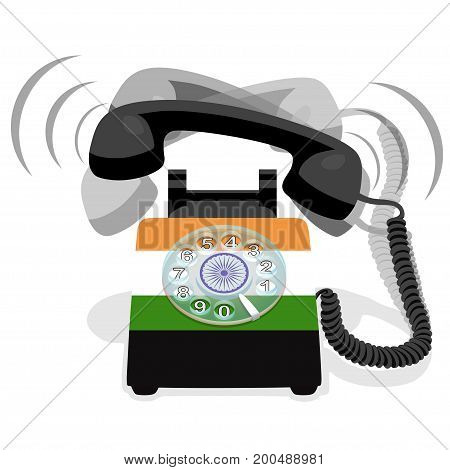 Ringing black stationary phone with rotary dial and with flag of India. Vector illustration