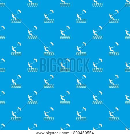 Man takes part at kitesurfing pattern repeat seamless in blue color for any design. Vector geometric illustration