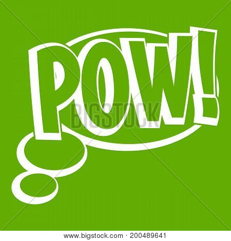 Pow, speech bubble icon white isolated on green background. Vector illustration
