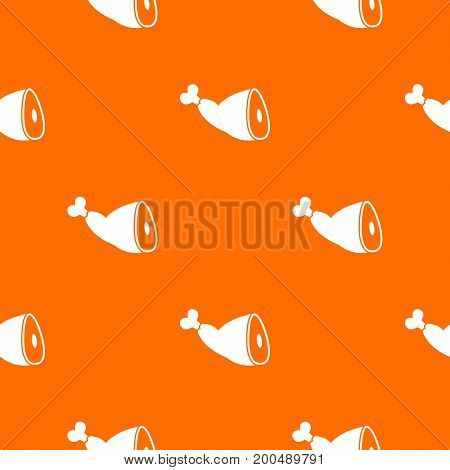 Roast pork knuckle pattern repeat seamless in orange color for any design. Vector geometric illustration