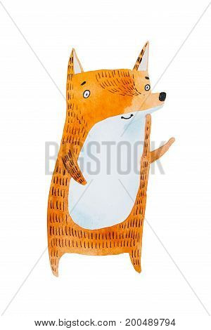 Aquarelle painting of cute cartoon little red fox isolated on white background.