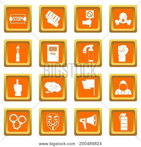 Protest icons set in orange color isolated vector illustration for web and any design