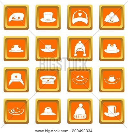 Headdress hat icons set in orange color isolated vector illustration for web and any design