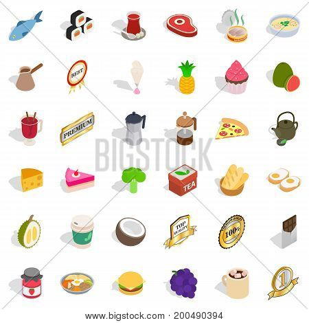 Tasty drink icons set. Isometric style of 36 tasty drink vector icons for web isolated on white background