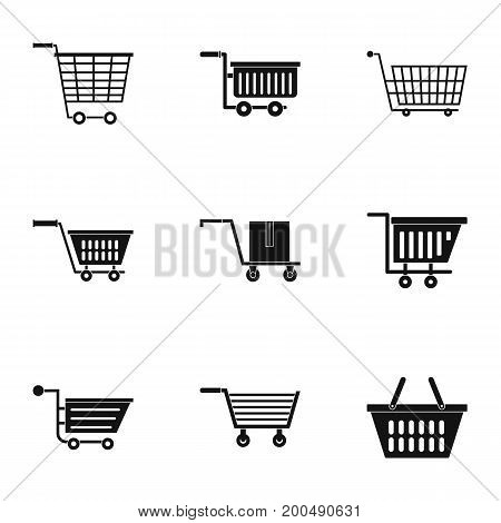 Wheel cart icon set. Simple set of 9 wheel cart vector icons for web isolated on white background