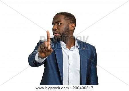 Businessman stopping with a hand gesture. Man with frowning brows showing finger no. Beard man with turned head indicating with finger stop.