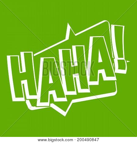 HAHA, comic text sound effect icon white isolated on green background. Vector illustration