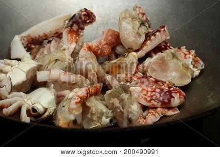 Cooking, Stir-fried Crab In Curry Powder Is Top-ten Of Popular Thai Food.
