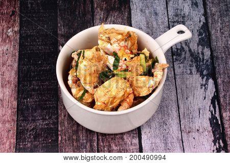 Stir-fried Crab In Curry Powder Is Top-ten Of Popular Thai Food.