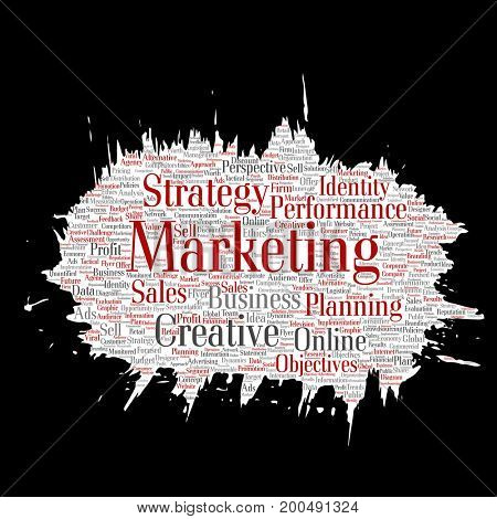Conceptual development business marketing target paint brush paper word cloud isolated background. Collage advertising, strategy, promotion branding, value, performance planning or challenge