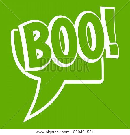 BOO, comic text speech bubble icon white isolated on green background. Vector illustration