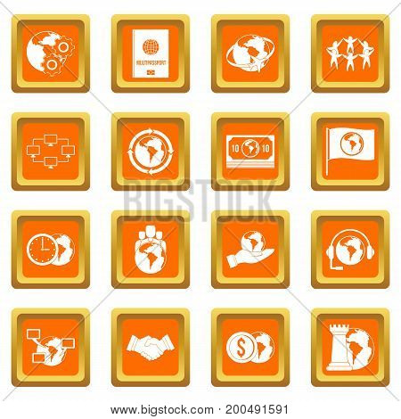 Global connections icons set in orange color isolated vector illustration for web and any design