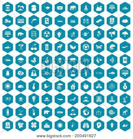 100 eco care icons set in sapphirine hexagon isolated vector illustration